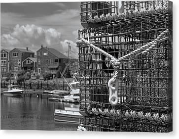 Bradley Wharf In Black And White Canvas Print by Joann Vitali