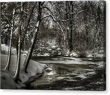 Brainards Bridge After A Snow Storm 4 Canvas Print by Thomas Young