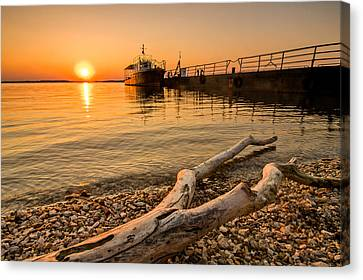 Branch Barge And Sunset Canvas Print by Davorin Mance