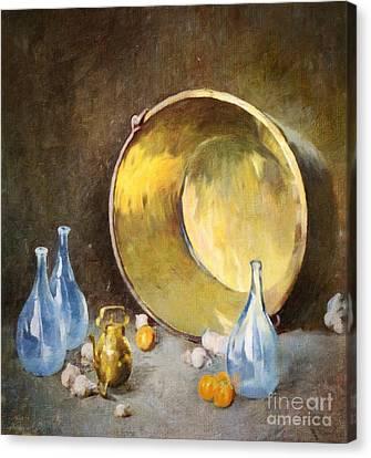 Brass Kettle With Blue Bottles After Carlsen Canvas Print by Lianne Schneider