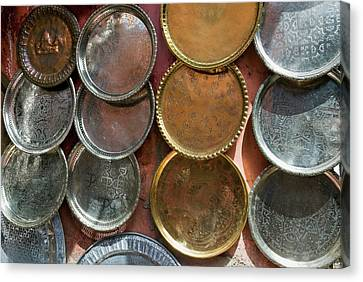 Brass Plates For Sale In The Souk Canvas Print by Nico Tondini