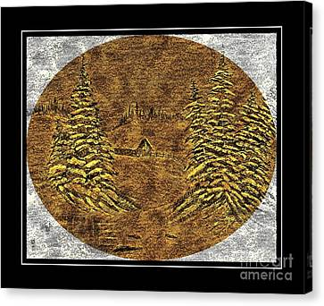 Brass-type Etching - Oval - Cabin Between The Trees Canvas Print by Barbara Griffin