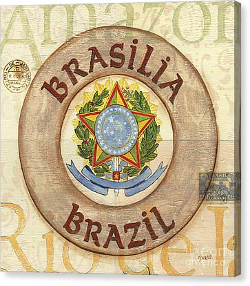 Brazil Coat Of Arms Canvas Print by Debbie DeWitt