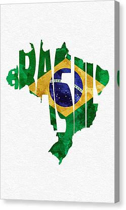 Brazil Typographic Map Flag Canvas Print by Ayse Deniz