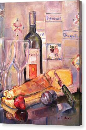 Bread And Wine Canvas Print by Dorothy Siclare