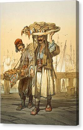 Bread Sellers On The Quay, 1865 Canvas Print by Amadeo Preziosi