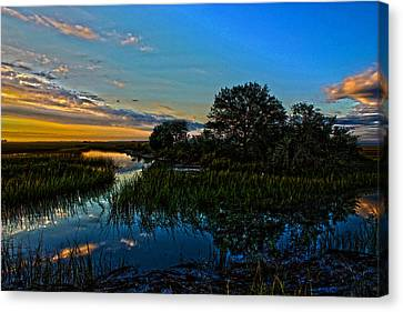 Break Of Dawn Over Low Country Marsh Canvas Print by Savlen Art