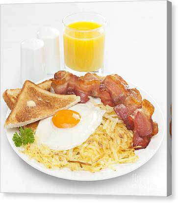 Breakfast Hash Browns Bacon Fried Egg Toast Orange Juice Canvas Print by Colin and Linda McKie
