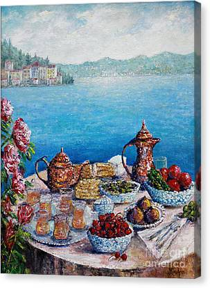 Breakfast In Istanbul Canvas Print by Lou Ann Bagnall