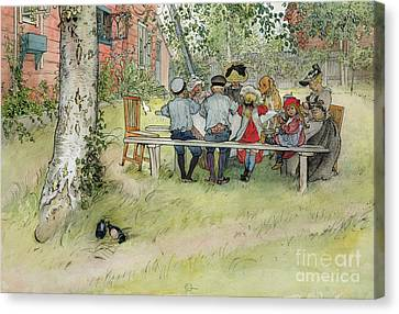 Breakfast Under The Big Birch Canvas Print by Carl Larsson