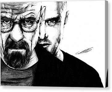 Breaking Bad Walter White And Jesse Pinkman Canvas Print by Mike Sarda