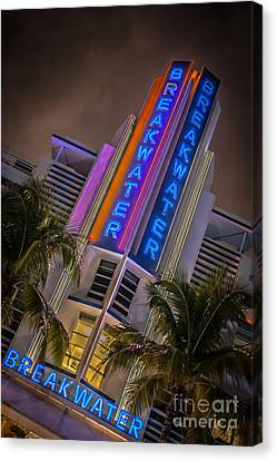 Breakwater Hotel Art Deco District Sobe Miami - Hdr Style Canvas Print by Ian Monk