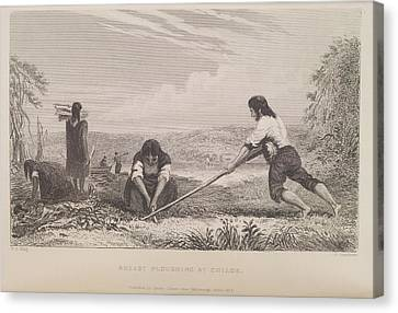 Breast Ploughing At Chiloe Canvas Print by British Library
