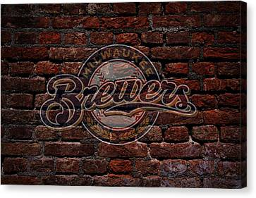 Brewers Baseball Graffiti On Brick  Canvas Print by Movie Poster Prints