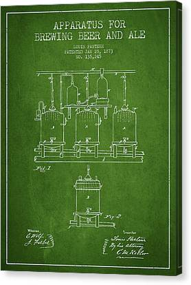 Brewing Beer And Ale Apparatus Patent Drawing From 1873 - Green Canvas Print by Aged Pixel