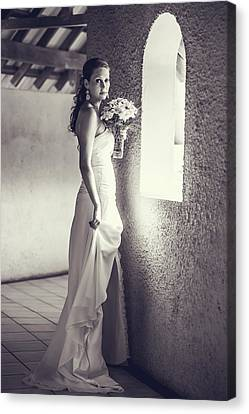 Bride At The Window. Black And White Canvas Print by Jenny Rainbow