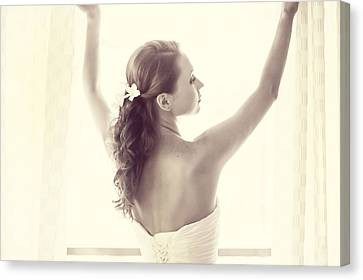 Bride At The Window Canvas Print by Jenny Rainbow