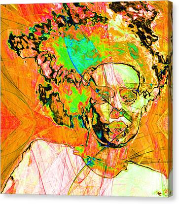 Bride Of Frankenstein In Abstract 20140908 Orange Square Canvas Print by Wingsdomain Art and Photography
