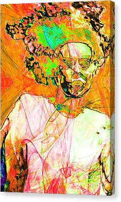 Bride Of Frankenstein In Abstract20140908 Orange Canvas Print by Wingsdomain Art and Photography