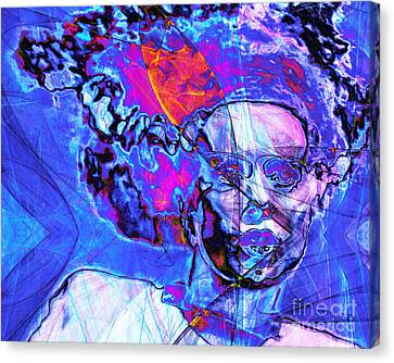 Bride Of Frankenstein In Abstract 20140908 Blue Horizontal Canvas Print by Wingsdomain Art and Photography