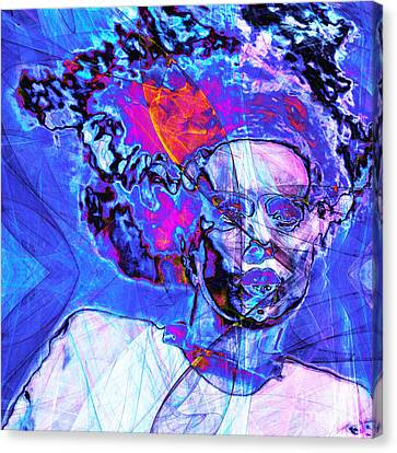 Bride Of Frankenstein In Abstract 20140908 Blue Square Canvas Print by Wingsdomain Art and Photography