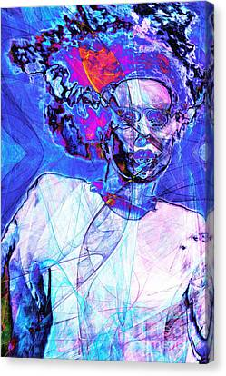 Bride Of Frankenstein In Abstract 20140908 Blue Canvas Print by Wingsdomain Art and Photography