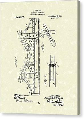 Bridge 1918 Patent Art Canvas Print by Prior Art Design