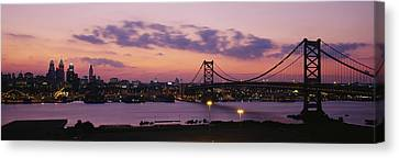 Bridge Across A River, Ben Franklin Canvas Print by Panoramic Images