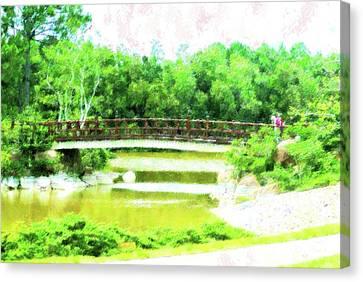 Bridge At Morikami Canvas Print by Florene Welebny