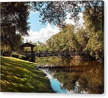 Bridge At Sawgrass Park Canvas Print by Ginny Schmidt