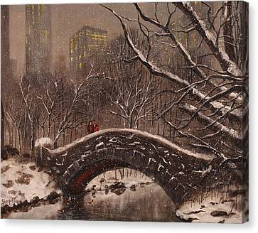 Bridge In Central Park Canvas Print by Tom Shropshire