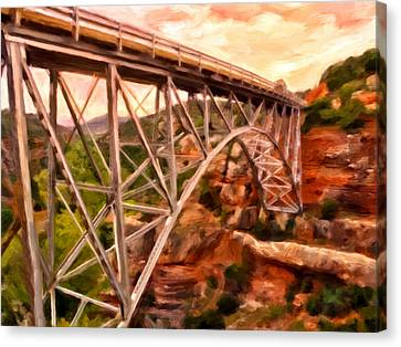 Bridge In Oak Creek Canyon Canvas Print by Michael Pickett