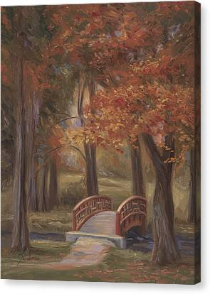 Bridge In The Fall Canvas Print by Lucie Bilodeau