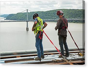 Bridge Lift Construction Workers Canvas Print by Jim West