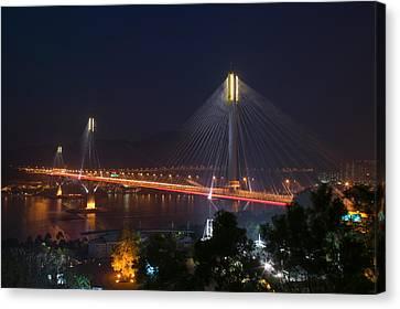Bridge Lit Up At Night, Ting Kau Canvas Print by Panoramic Images