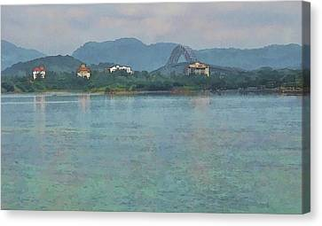 Bridge Of The Americas From Casco Viejo - Panama Canvas Print by Julia Springer