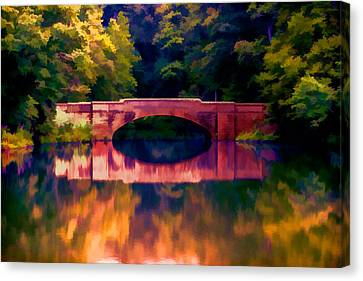 Bridge Over Colored Waters Canvas Print by John Haldane