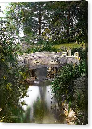 Bridge Over Stream Canvas Print by Terry Reynoldson