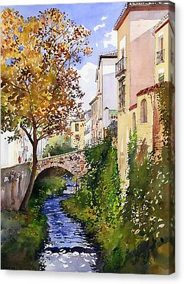 Bridge Over The Rio Darro Canvas Print by Margaret Merry