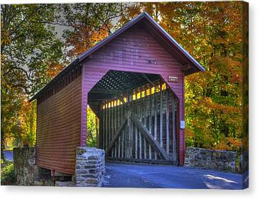 Bridge To The Past Roddy Road Covered Bridge-a1 Autumn Frederick County Maryland Canvas Print by Michael Mazaika