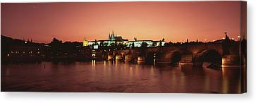 Bridge With A Church And A Castle Canvas Print by Panoramic Images
