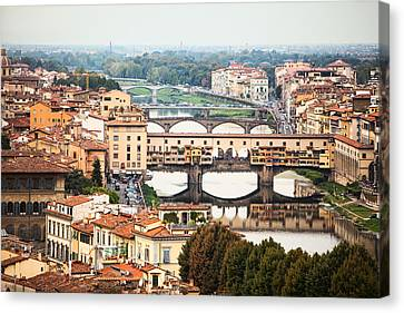 Bridges Of Florence Canvas Print by Susan Schmitz