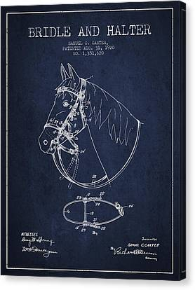 Bridle Halter Patent From 1920 - Navy Blue Canvas Print by Aged Pixel