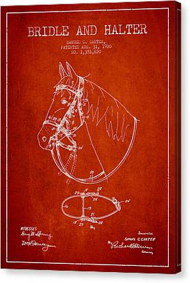 Bridle Halter Patent From 1920 - Red Canvas Print by Aged Pixel
