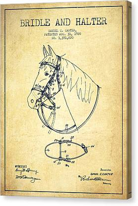 Bridle Halter Patent From 1920 - Vintage Canvas Print by Aged Pixel