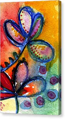 Bright Abstract Flowers Canvas Print by Linda Woods