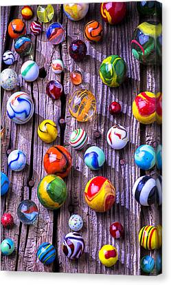 Bright Colorful Marbles Canvas Print by Garry Gay