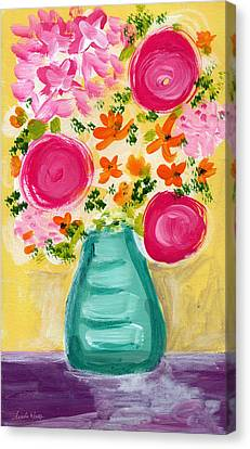 Bright Flowers Canvas Print by Linda Woods