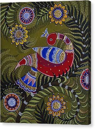 Bright Red Peacock Canvas Print by Sucheta Misra