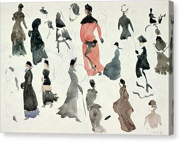 Brighton Ladies Canvas Print by Randolph Caldecott